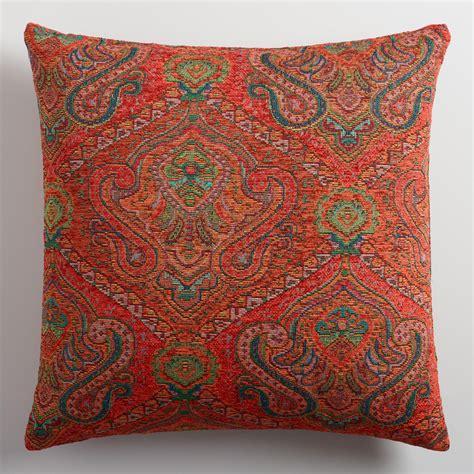 Orange Throw Pillows For by Orange Jacquard Throw Pillow World Market