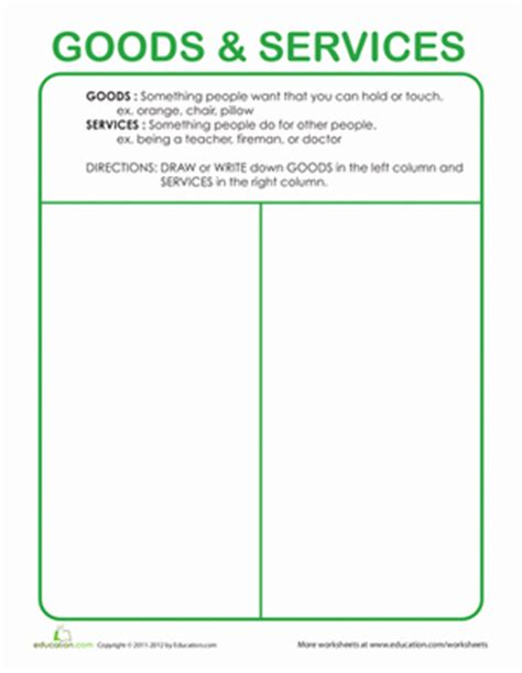 Goods And Services Worksheets by What Are Goods And Services Worksheet Education