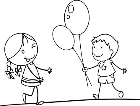 child color balloon girl funny cartoon pictures for children coloring