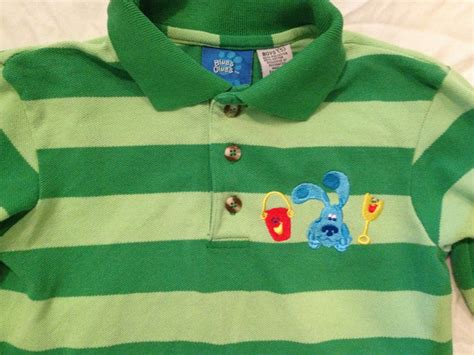 blues clues green blues clues steve polo shirt boys size 5 green rugby stripe sleeve costume