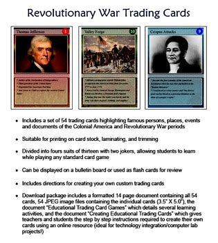 Revolutionary War Trading Cards Template by Revolutionary War Trading Cards By Technology Integration