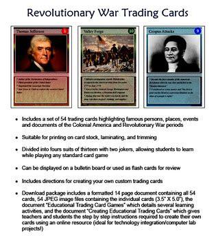 revolutionary war trading cards template revolutionary war trading cards by technology integration
