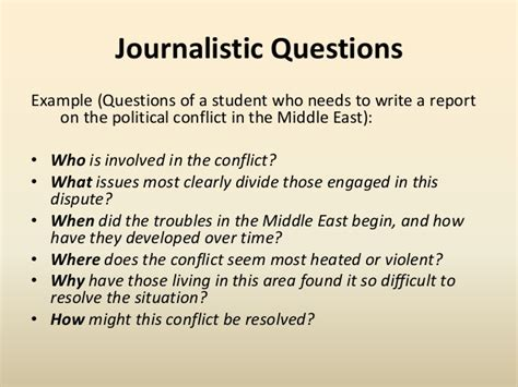 Journalist Questions by Pre Writing Strategies