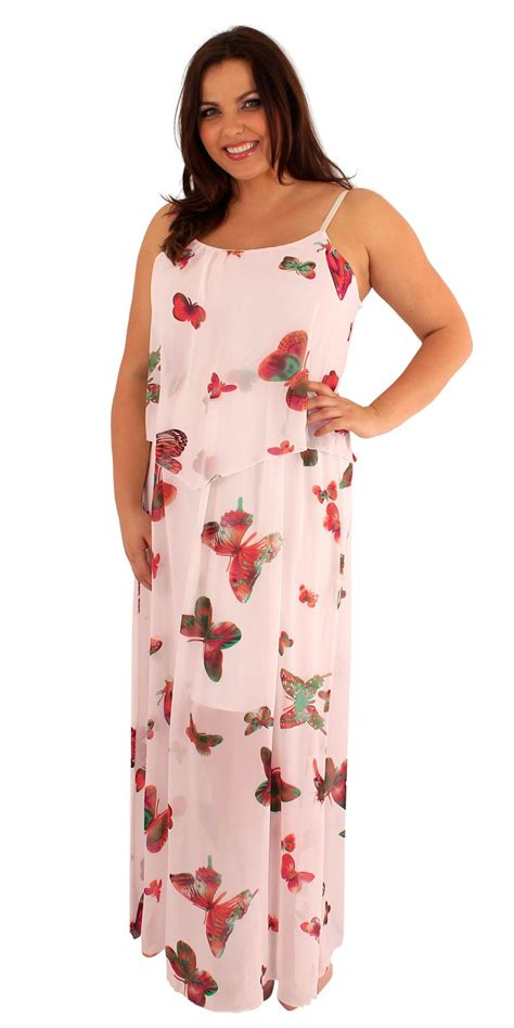 Longdress Butterfly womens plus size two layered chiffon butterfly print strappy maxi dress ebay