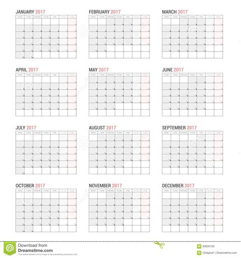 yearly wall calendar planner template for 2017 stock vector