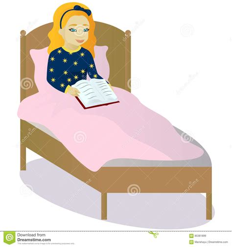 how to read a book in bed little girl read book in bed stock vector illustration