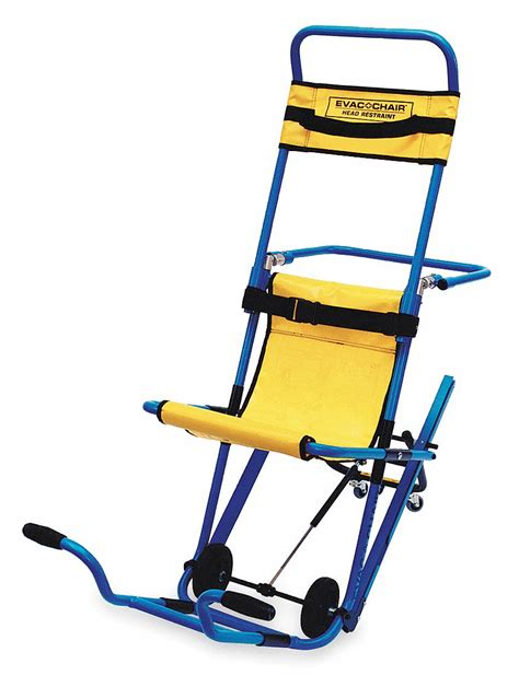 evac chair aluminum stair chair   lb weight capacity blue textured frame  yellow
