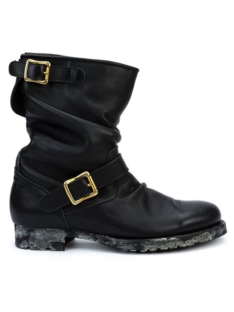 buckle boots miharayasuhiro buckle detail boots in black for lyst