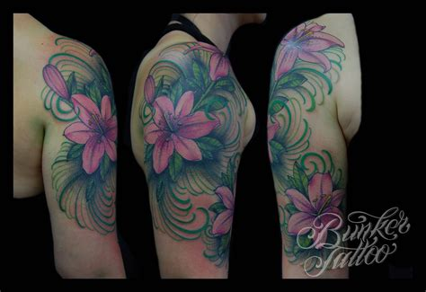 lily quarter sleeve tattoo 34 lily flowers tattoos on arm