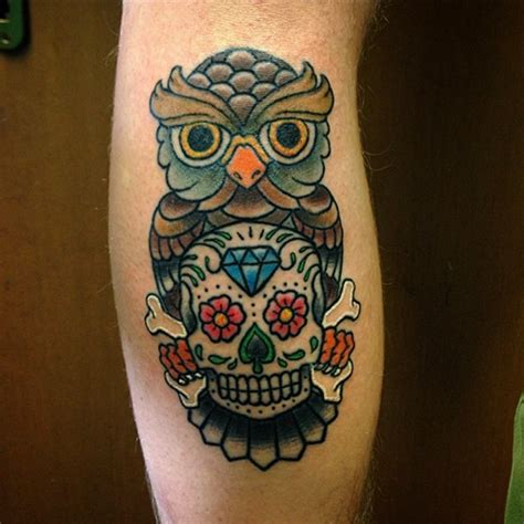 sugar owl tattoo design 58 best skull owl tattoos collection