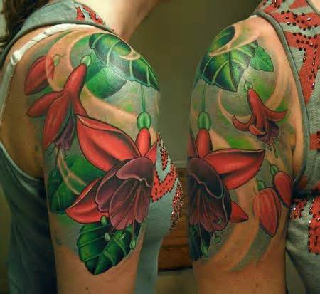 tattoo new school flower fuschia flowers by tim senecal tattoos
