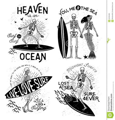 skeleton surfer vector art stock vector image 60336480