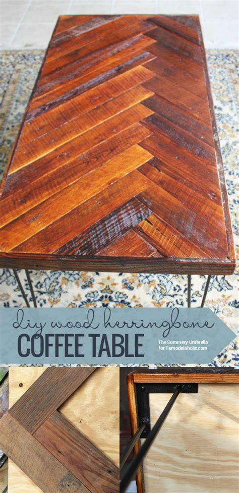 Diy Wood Coffee Table Diy Wood Herringbone Coffee Table With Hairpin Legs Remodelaholic Bloglovin