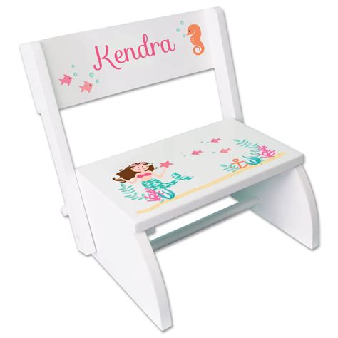personalized step stool custom mermaid step stool personalized name hair color