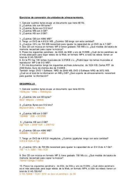 problemas para 2 de primaria slideshare newhairstylesformen2014com ejercicios de conversi 243 n de unidades de almacenamiento