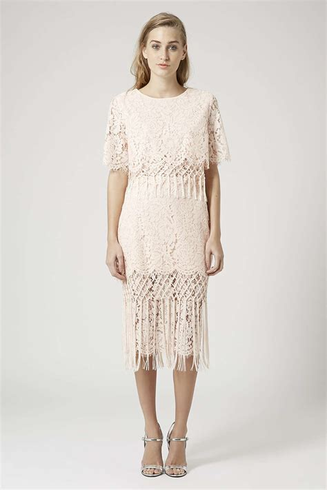fringe lace top and pencil skirt new in topshop