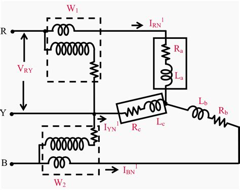 circuit diagram two wattmeter method circuit and
