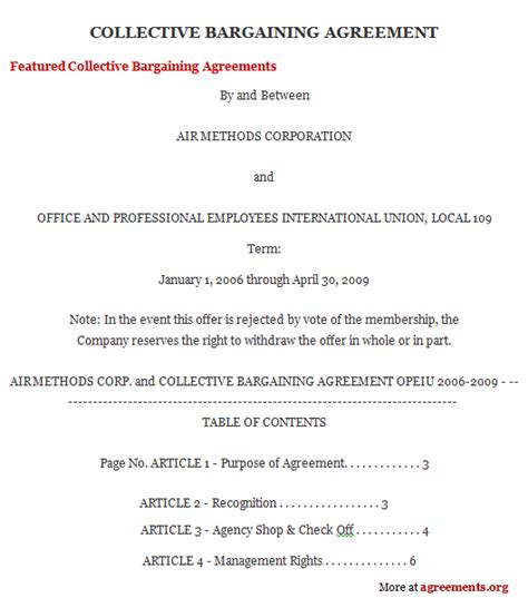 Collective Agreement Letter Of Understanding collective bargaining agreement www pixshark
