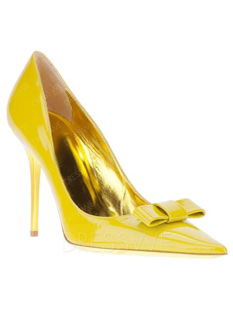 lovely yellow closed toe stiletto heels prom pumps
