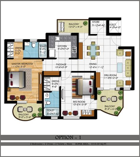 2 bhk house plan layout