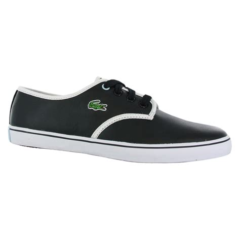 lacoste mara leather black white womens trainers shoes ebay