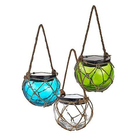 solar powered buoy lights solar powered glass hanging buoy lantern light bed bath