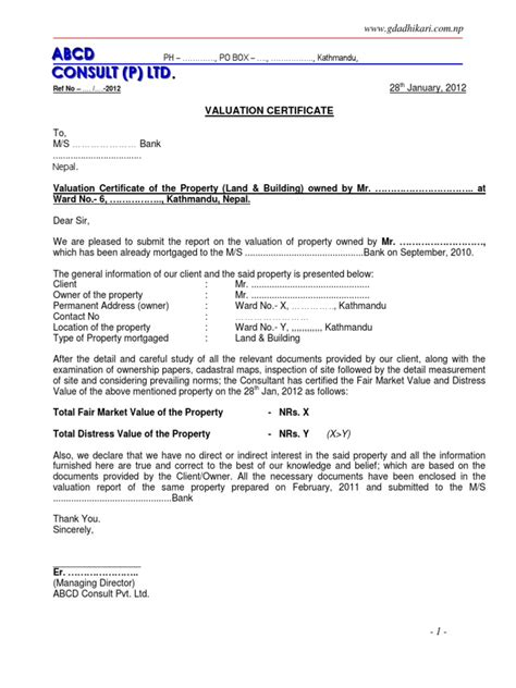 valuation letter template valuation report sle format