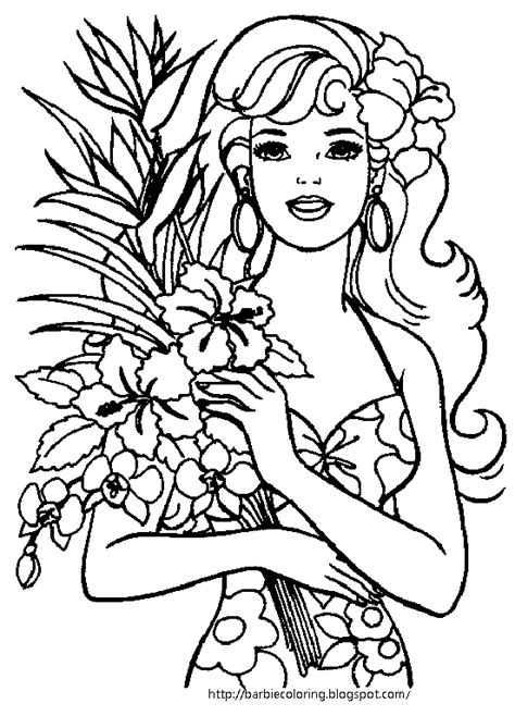 Barbie Coloring Pages Barbie Dancer Tennis Player And On Hawaii Coloring Page