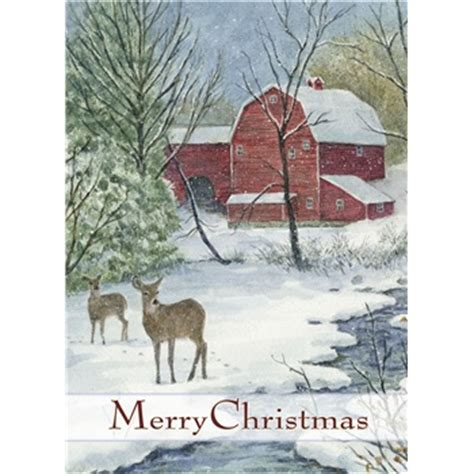 boxed christmas cards red barn deer