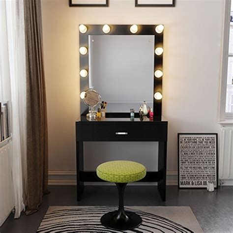 black vanity table with lighted mirror tribesigns vanity set with lighted mirror makeup vanity