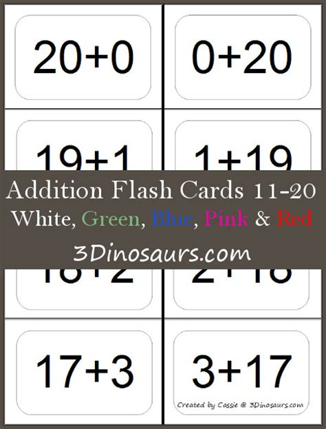 addition flash card template addition and subtraction facts to 20 flashcards printable