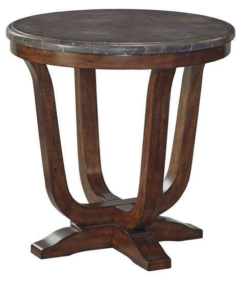 brown accent table balinder medium brown round end table from ashley t908 6