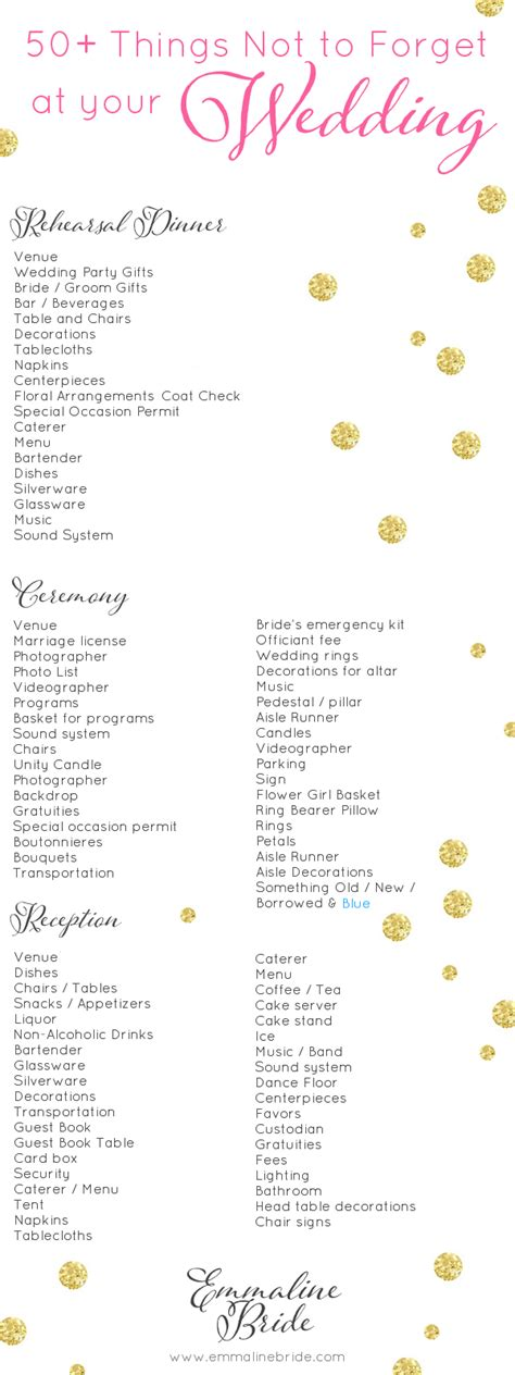 Wedding Song Checklist by Wedding Day Checklist Printable 50 Things Not To Forget