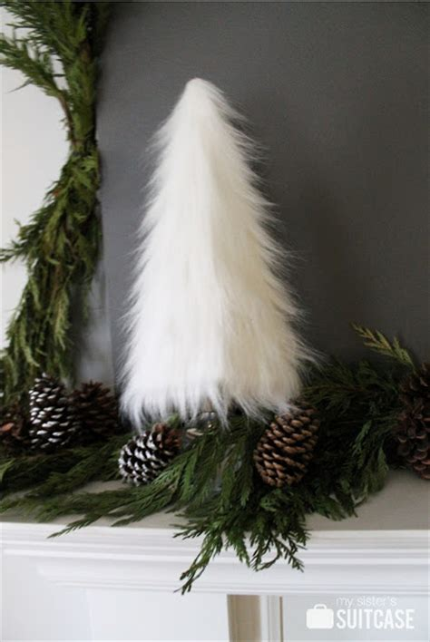 white furry fluffy christmas trees a rustic modern mantel my s suitcase packed with creativity
