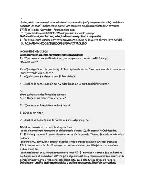 preguntas comprension de lectora el principito prueba de comprensi 243 n lectora el principito