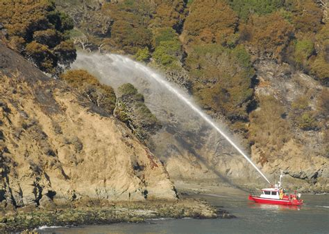 boat to angel island file tiburon fire department fireboat fights a fire on