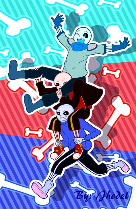 underswap sans underfell sans and undertale sans by