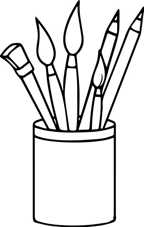 supplies pencils paint brushes coloring page wecoloringpage