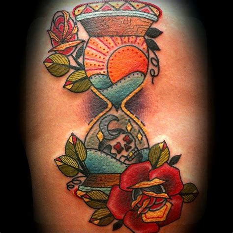 americana tattoo hourglass skull traditionaltattoo traditional