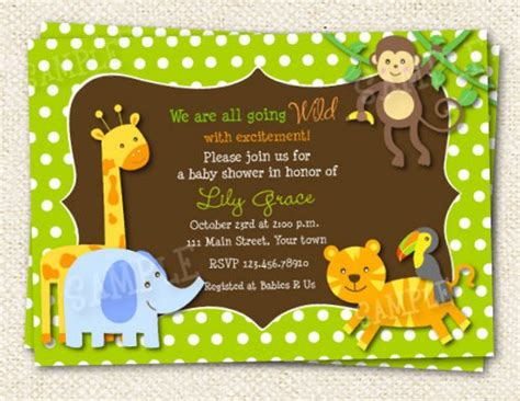 Jungle Themed Baby Shower Invitations by Safari Jungle Baby Shower Invitations