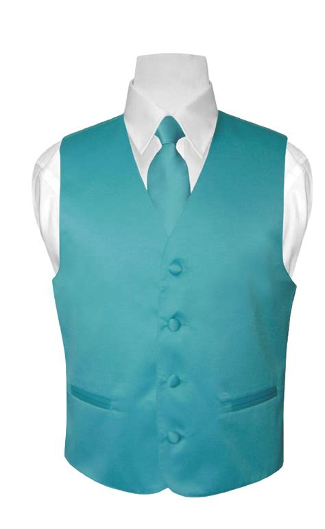 aqua for boys boy s solid turquoise aqua blue color dress vest necktie