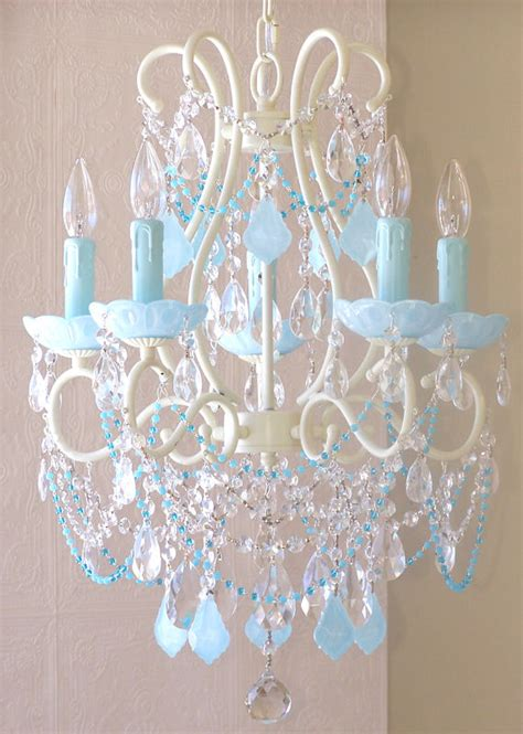 Aqua Blue Chandelier 5 Arm Chandelier With Opal Aqua Blue Crystals The Frog And The Princess