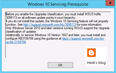 install windows 10 via wsus henk s blog enable the upgrades classification in