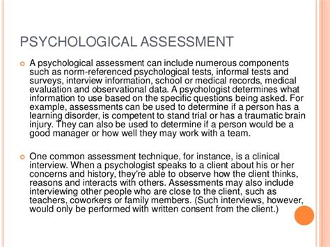 psychological evaluation psychological assessment standardization evaluation etc