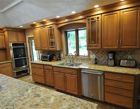 honey maple kitchen cabinets honey maple glaze traditional kitchen new york by