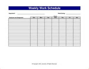 Schedule Template In Excel by 6 Weekly Work Schedule Template Excel Budget Template