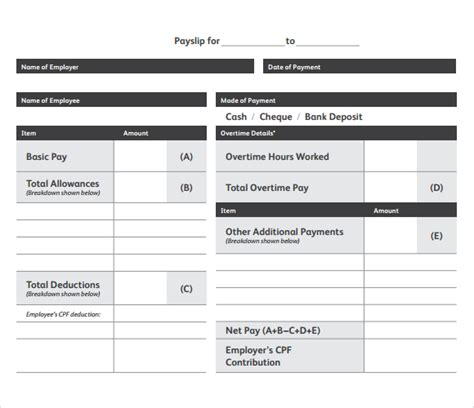 payslip template free 6 payslip templates word excel pdf templates