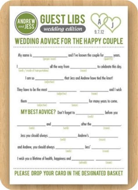 mad libs for wedding guests wedding guest book ideas wedding the guest and activities