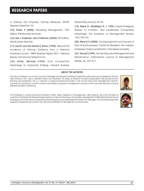 Mba Hr Research Papers by M M Bagali Phd Research Paper Mba Faculty Hrm Hr Hrd