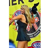 Cheeky Traxxas Girl Throwing A T Shirt  At The NHRA